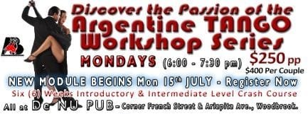 Latin Dance Master Workshop, After De Storm All-Dance Party and Argentine TANGO Workshop Series
