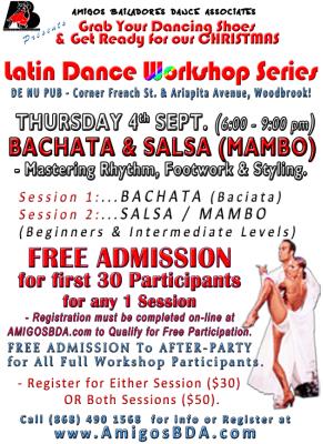 2014 Latin Dance Workshops in Bachata and Salsa (Mambo)