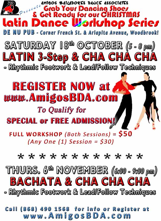 Latin Dance Workshops in Bachata and Salsa (Mambo)